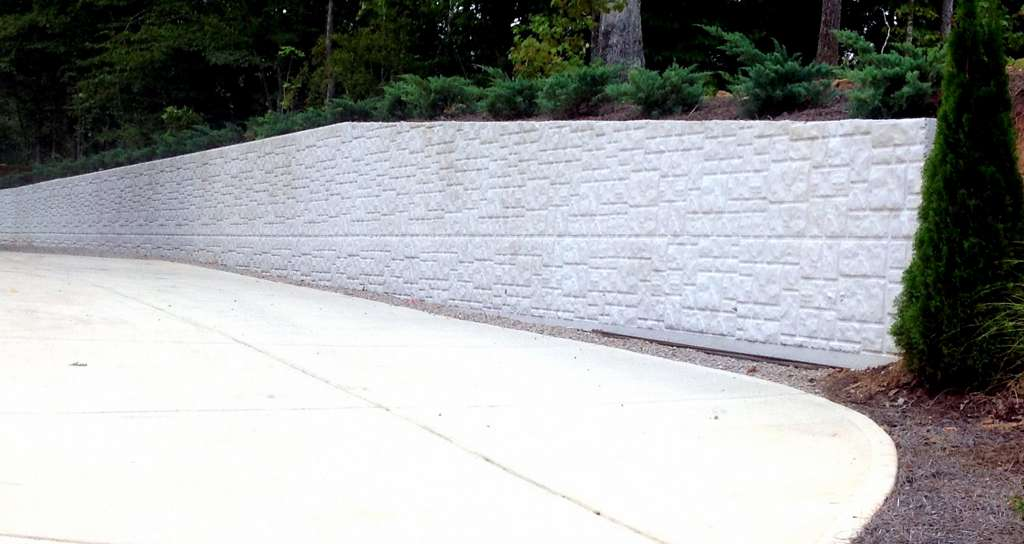 concrete construction using ashlar stone pattern
